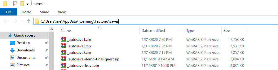 Factorio game saves folder with zipped up save files