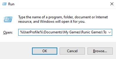 Torchlight 2 save path in Windows Run window