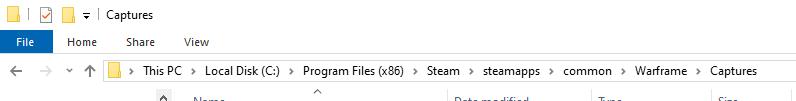 Warframe screenshot folder path on Windows