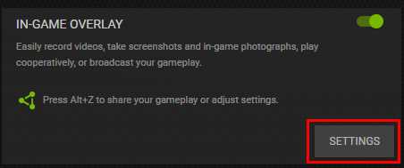 In-Game Overlay settings button