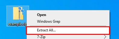 The extract all option in Windows