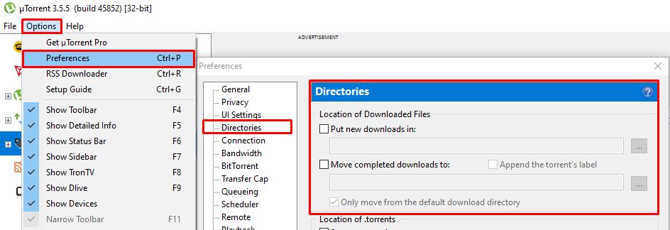 Changing the default downloads folder for uTorrent on Windows