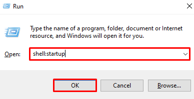 Using Run to open the Windows start up folder