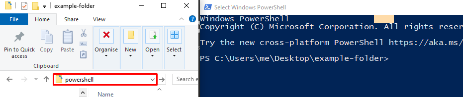 Using the powershell shortcut to open PowerShell within a folder