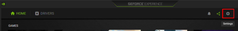 GeForce Experience settings button