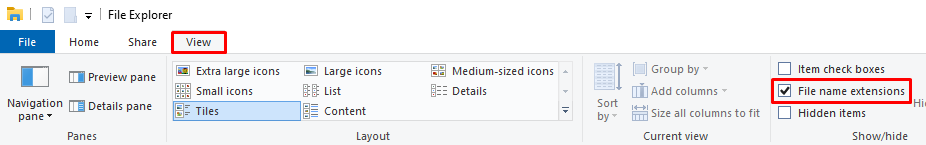 Enabling the file name extensions checkbox in Windows