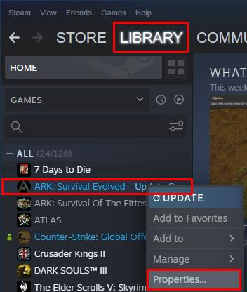 Ark Steam properties button