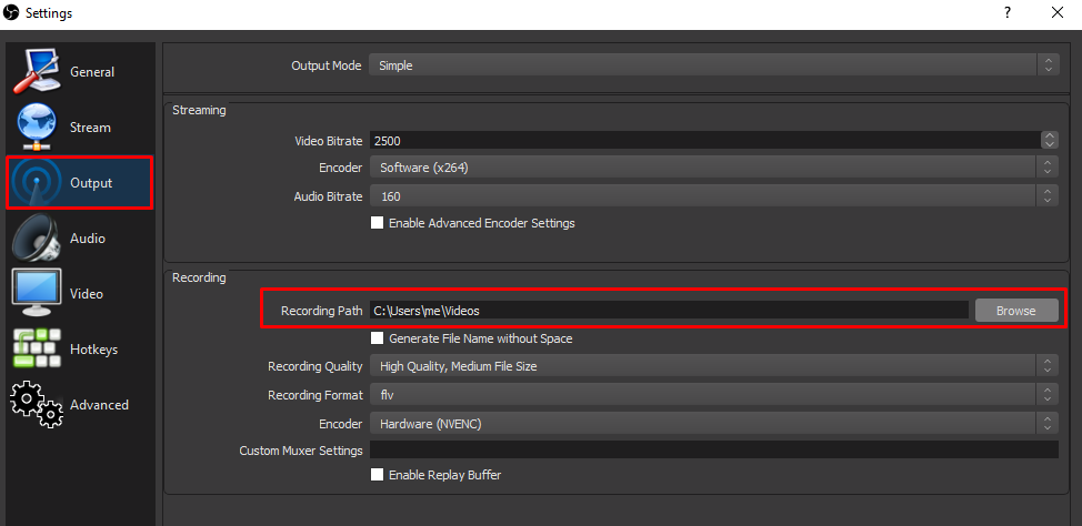 OBS recording folder path highlighted