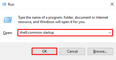 Using Run to open the Windows common start up folder
